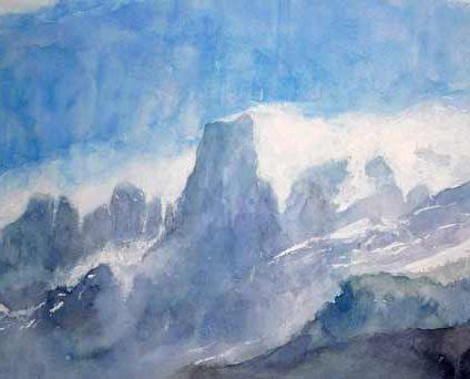 Acuarela de Rubén de Luis para el concurso de pintura de Picos de Europa